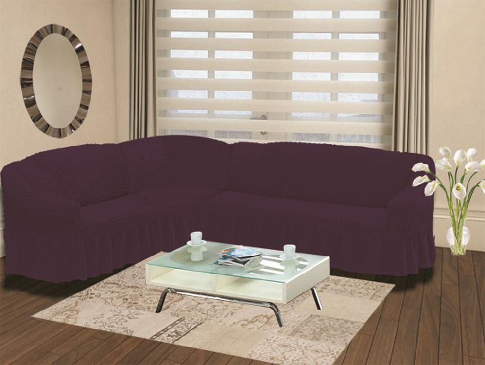 Чехол для дивана Burumcuk Bulsan, угловой, левосторонний, пятиместный, цвет: баклажан300148_розовыйЧехол для дивана Burumcuk выполнен из высококачественного полиэстера и хлопка с красивым рельефом. Предназначен для углового дивана. Такой чехол изысканно дополнит интерьер вашего дома. Ширина посадочных мест короткой стороны: 140-190 см.Ширина посадочных мест длинной стороны: 210-260 см. Глубина посадочных мест: 70-80 см. Высота спинки от посадочного места: 70-80 см. Ширина подлокотников: 25-35 см. Высота юбки: 35 см. Тянется: + 30 см.