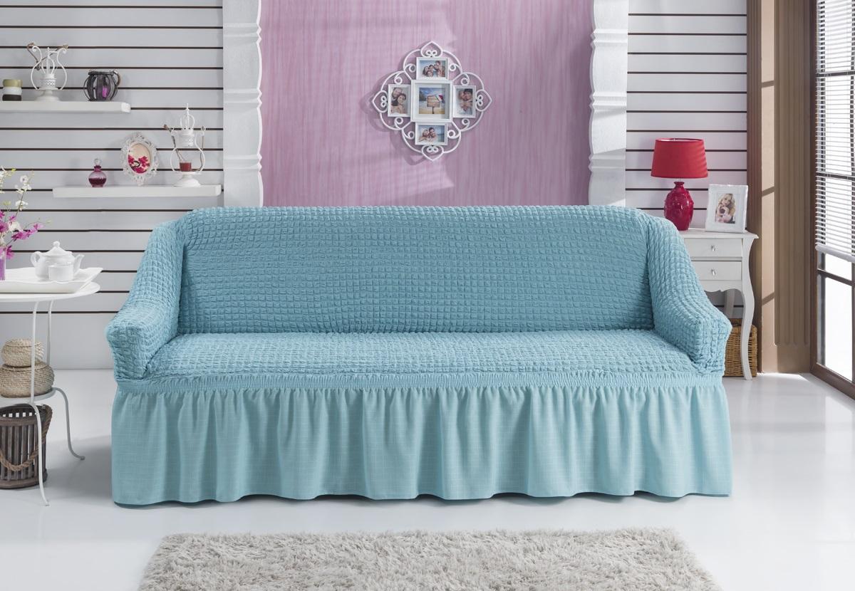 Чехол для дивана Karna Bulsan, двухместный, цвет: голубой2027/CHAR002Фиксаторы позволяют надежно закрепить чехол Karna Bulsan на вашей мебели. Они вставляются в расстояние между спинкой и сиденьем, фиксируя чехол в одном положении, и не позволяют ему съезжать и терять форму. Фиксаторы особенно необходимы в том случае, если у вас кожаная мебель или мебель нестандартных габаритов. Выполнен чехол из высококачественного полиэстера и хлопка.Ширина посадочных мест: 140-180 см.Глубина посадочных мест: 70-80 см.Высота спинки от посадочного места: 70-80 см.Ширина подлокотников: 25-35 см.Высота юбки: 35 см.