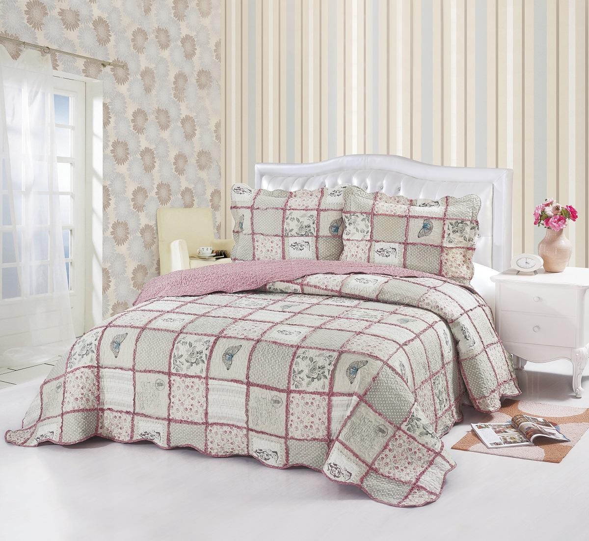 Комплект для спальни Karna Modalin. Пэчворк: покрывало 230 х 250 см, 2 наволочки 50 х 70 см, цвет: розовый, серыйA3964LM-8WHИзысканный комплект Karna Modalin. Пэчворк прекрасно оформит интерьер спальни или гостиной. Комплект состоит из двухстороннего покрывала и 2наволочек. Изделия изготовлены из микрофибры. Постельные комплекты Karna уникальны, так как они практичны и универсальны в использовании. Материал хорошо сохраняет окраску и форму. Изделия долговечны, надежны и легко стираются.Комплект Karna не только подарит тепло, но и гармонично впишется в интерьер вашего дома. Размер покрывала: 230 х 250 см.Размер наволочки: 50 х 70 см.