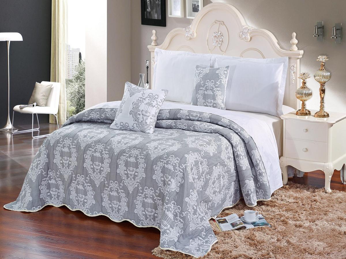 Покрывало Cleo Грация, цвет: белый, серый, 220 х 240 см1004900000360Красивые, яркие, легкие и в меру объемные покрывала - они становятся настоящим украшением, завершающим штрихом интерьера, который преображает помещение, делая его уютным и комфортным.Состав этой коллекции - 100% хлопок. Это необыкновенно прочная, практичная, устойчивая к разнообразным воздействиям ткань. Рисунок, выполненный методом тиснения, сохраняет краски в течение долгого времени. Такое покрывало прослужит много лет, радуя вас и ваших близких изначальной яркостью своих красок.