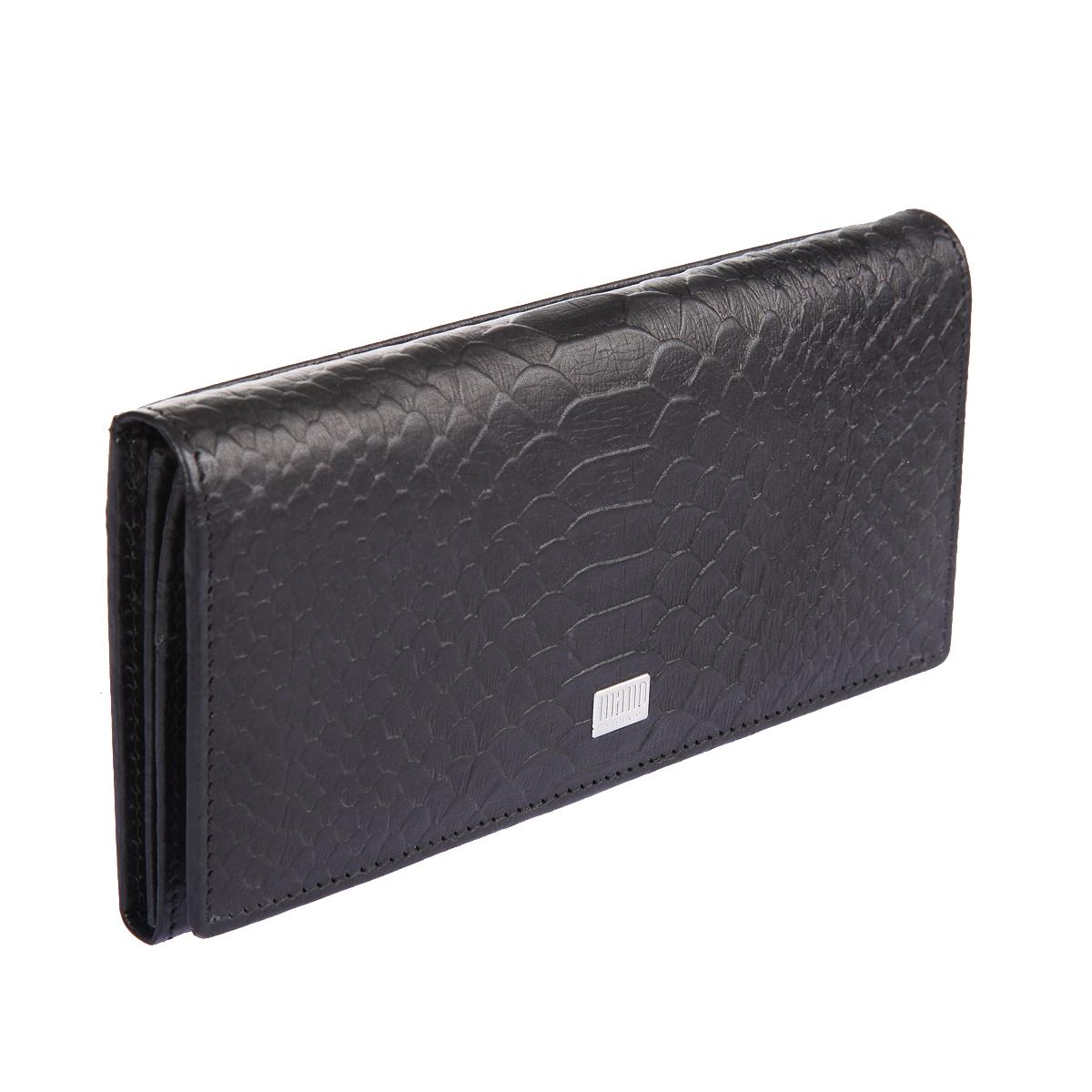 Портмоне женское Mano, цвет: черный. 20150 CrocoERJAA03224-WBT0Портмоне женское Mano выполнено из натуральной кожи. Модель закрывается широким клапаном на кнопке, внутри два отделения для купюр, отделение для мелочи на молнии, два кармана для бумаг, девятнадцать кармашков для пластиковых карт, сетчатый карман, снаружи на задней стенке два кармана, один из них на молнии.
