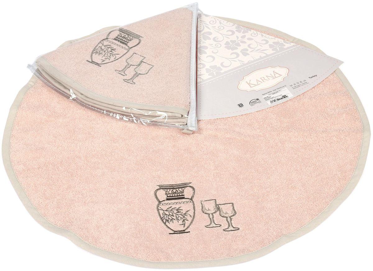 Салфетка кухонная Karna Bella, цвет: светло-розовый, диаметр 50 см505/CHAR005Салфетка Karna Petek изготовлена из 100% хлопка.Салфетка отлично впитывает воду и быстро сохнет.Отличительной особенностью данной модели является ее оригинальный дизайн. Изделие отличается своей долговечностью и практичностью, не выгорает и не линяет.Диаметр салфетки: 50 см.
