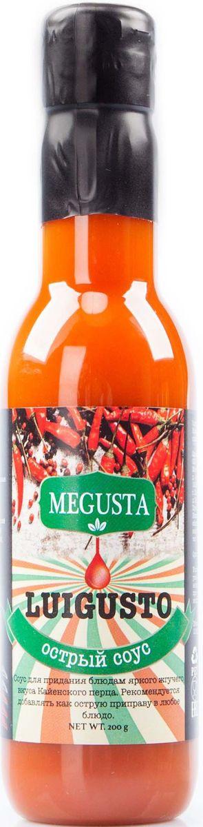 Megusta Luigusto соус острый перцовый, 200 г0120710Легендарный перечный соус Луизиана отлично сочетается с любым блюдом, идеально дополнит коллекцию острых соусов для любого перцееда и любителя супер-жгучих перечных смесей. Изготовлен по рецептуре традиционного луизианского острого соуса из оригинальных кайенских перцев. Производители Megusta, купили натуральные ингредиенты в Коста-Рике у поставщика Kamuk. Далее, по секретной рецептуре завода Kamuk изготовили продукцию, разлили в тару на территории России и в итоге получился узнаваемый, натуральный, премиальный продукт, вкус которого знает весь мир.