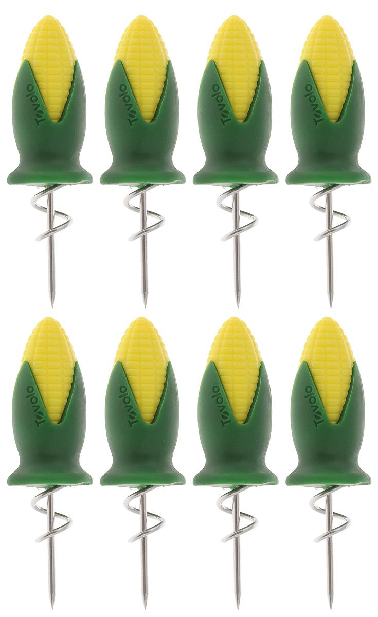 Набор держателей для кукурузы Tovolo, 8 штVT-1520(SR)Набор Tovolo состоит из 8 держателей, изготовленных из нержавеющей стали. Изделия идеально подойдут для употребления горячей кукурузы. Удобные ручки этих приспособлений, выполненные из прочного пластика, обеспечат надежное удерживание початков. Можно мыть в посудомоечной машине.Длина держателя: 8 см.