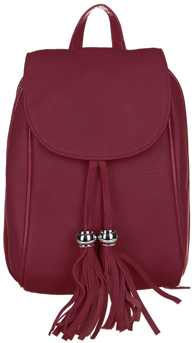 Рюкзак женский Janes Story, цвет: красный. AL-9018-12101225Стильный женский рюкзак Janes Story выполнен из натуральной кожи зернистой фактуры. Изделие содержит отделение, закрывающееся с помощью металлической застежки-молнии и клапана с магнитным замком. Внутри расположены: два накладных кармана для мелочей и один карман на молнии. Спереди рюкзак дополнен одним карманом на молнии, сзади прорезным карманом на молнии. Рюкзак оснащен удобными лямками регулируемой длины, а также петлей для подвешивания. Модель дополнена подвесками с кисточками. Оригинальный аксессуар позволит вам завершить образ и быть неотразимой.