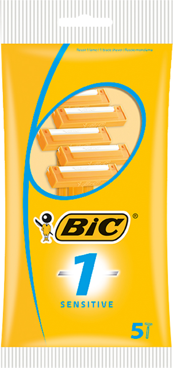 Bic Бритва Bic1 для чувствительной кожи, уп.5 шт400790Бритвенный станок с одним лезвиемдля чувствительной кожи. Фиксированная головка. Лезвие из нержавеющей сталивысшего качества. Хромо-полимерное покрытие. Удобная ручка,покрытая полистиролом