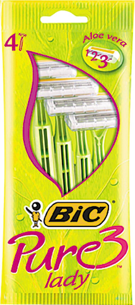 Bic Бритва Pure3 Lady, уп.4 шт8221133Бритвенный станок с тремя лезвиями дляженского бритья. Фиксированная головка. Хромо-полимерное покрытие. Увлажняющая полоска с Алоэ-Вера. Изогнутая и ребристая ручка.