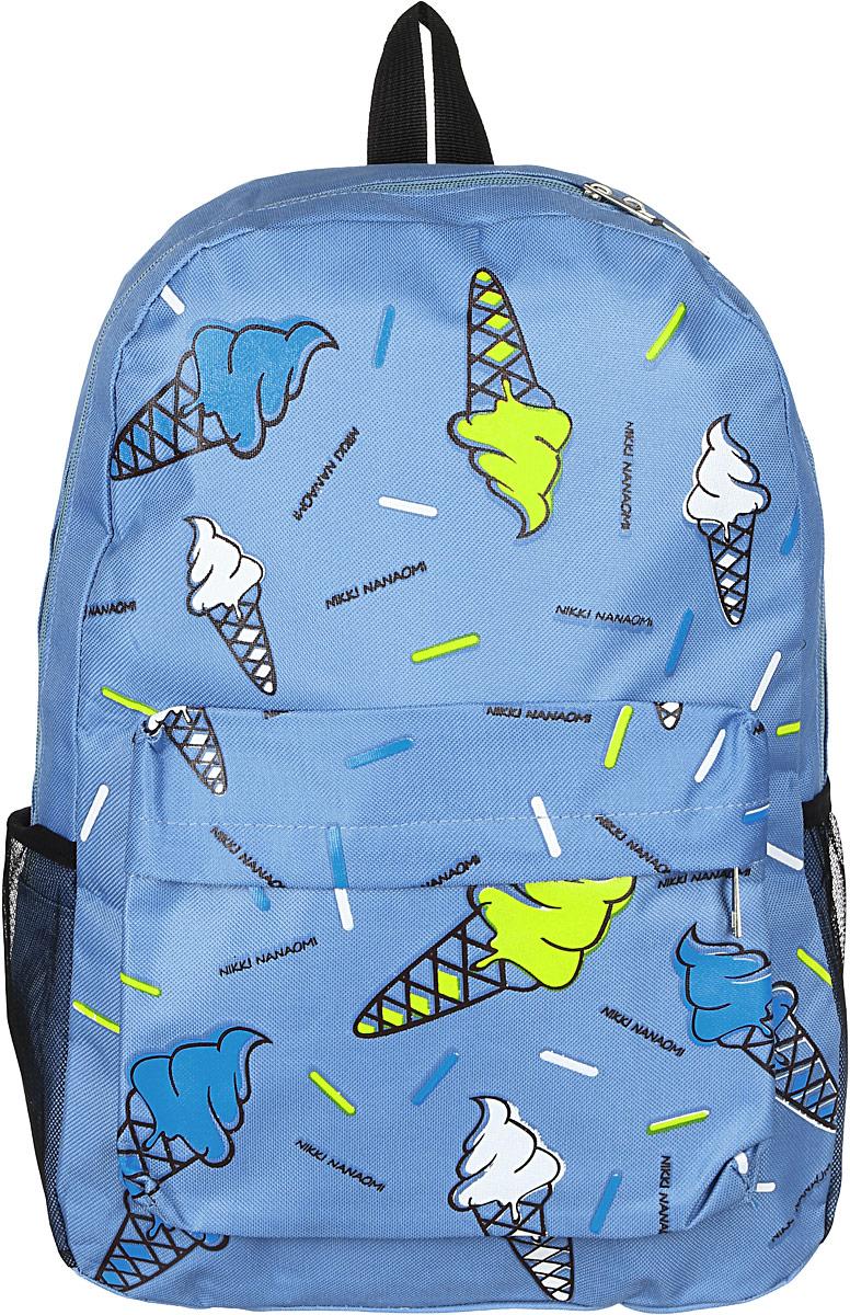 Рюкзак женский Kawaii Factory, цвет: голубой. KW102-000232S76245Рюкзак женский Kawaii Factory - идеальное сочетание креативного дизайнерского подхода и простоты исполнения. Модный рюкзак с мороженым удобный и функциональный, сшит из прочного материала. В нем есть все, что нужно - одно основное отделение, закрывающееся на застежку-молнию, один внутренний накладной карман, а также карман на молнии. По бокам рюкзака имеются небольшие кармашки для различных мелочей. Благодаря отличной эргономичности прогулочный рюкзак будет практически невесомым на вашей спине. Спереди и сзади модель дополнена накладным карманом на застежке-молнии. Рюкзак оснащен широкими лямками регулируемой длины и ручкой для переноски в руке. Практичный и стильный аксессуар позволит вам завершить свой образ.
