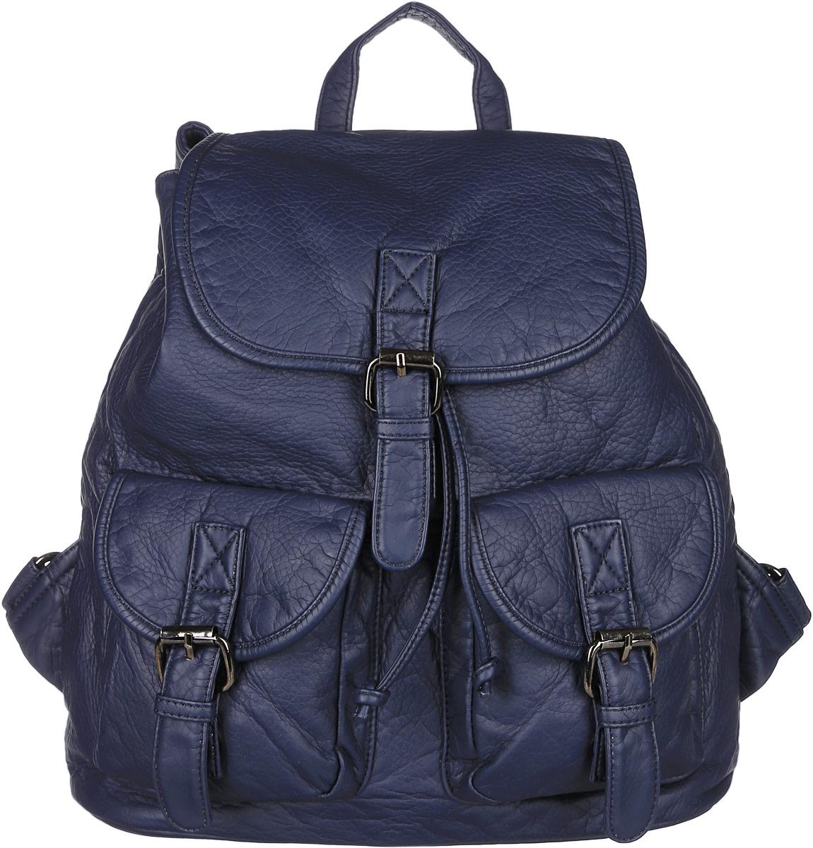 Рюкзак женский Janes Story, цвет: темно-синий. TW-8915-60S76245Стильный женский рюкзак Janes Story выполнен из искусственной кожи. Изделие содержит отделение, закрывающееся с помощью затягивающего шнурка с фиксатором и клапана с магнитным замком. Внутри расположены: два накладных кармана для мелочей и два кармана на молнии. Спереди рюкзак дополнен двумя карманами, которые застегиваются при помощи хлястиков с пряжками, сзади прорезным карманом на молнии. Рюкзак оснащен удобными лямками регулируемой длины, а также петлей для подвешивания. Оригинальный аксессуар позволит вам завершить образ и быть неотразимой.