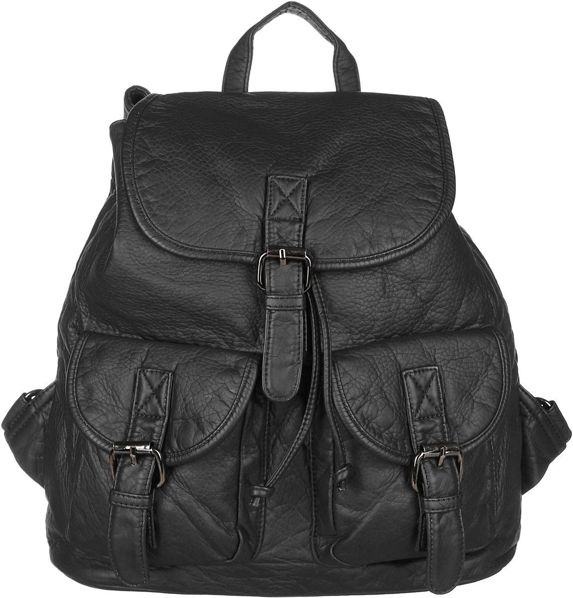 Рюкзак женский Janes Story, цвет: черный. TW-8915-04S76245Стильный женский рюкзак Janes Story выполнен из искусственной кожи. Изделие содержит отделение, закрывающееся с помощью затягивающего шнурка с фиксатором и клапана с магнитным замком. Внутри расположены: два накладных кармана для мелочей и два кармана на молнии. Спереди рюкзак дополнен двумя карманами, которые застегиваются при помощи хлястиков с пряжками, сзади прорезным карманом на молнии. Рюкзак оснащен удобными лямками регулируемой длины, а также петлей для подвешивания. Оригинальный аксессуар позволит вам завершить образ и быть неотразимой.