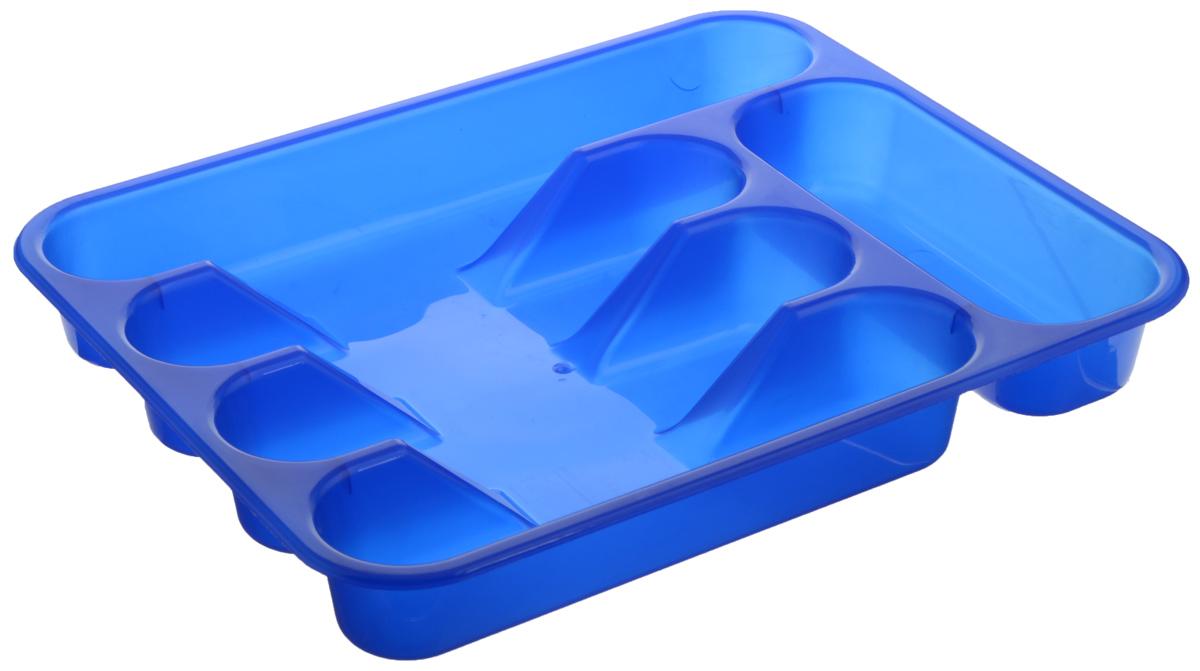 Лоток для столовых приборов ABM Горизонт, 5 отделений, цвет: синий, 33 х 26 х 4 смВетерок 2ГФЛоток для столовых приборов ABM Горизонт изготовлен из пластмассы. Он предназначен для выдвигающихся ящиков на кухне. Лоток имеет пять отделений: три отделения для вилок, ложек, ножей, одно маленькое отделение для чайных ложек и десертных вилок, одно большое отделение для остальных приборов.Размер большого отделения: 30 х 5,5 см.Размер средних отделений: 23 х 5,5 см.Размер маленького отделения: 18 х 7 см.