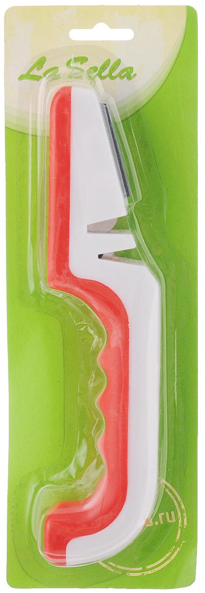 Ножеточка LaSella. H18-02954 009312Ножеточка LaSella - незаменимый аксессуар на любой кухне. Изделие позволяет быстро и качественно заточить нож. Подходит для заточки различных видов ножей из нержавеющей стали, кроме ножей с зубчатыми лезвиями. Изделие имеет отсек, выполненный из вольфрама, предназначен для грубой заточки, обеспечивает шлифование под углом; а также поверхность для быстрой и легкой заточки ножей. Грубая заточка используется в том случае, если ваш нож очень затуплен, а легкая заточка - для удаления неровностей с поверхности лезвия. Благодаря такой ножеточке вы можете точить ножи в нужных вам местах. Ножеточку удобно использовать: просто двигайте ножи вперед-назад. Удобная рукоятка выполнена из пластика. Эргономичная форма рукоятки обеспечивает надежный хват, комфорт и безопасность при использовании.