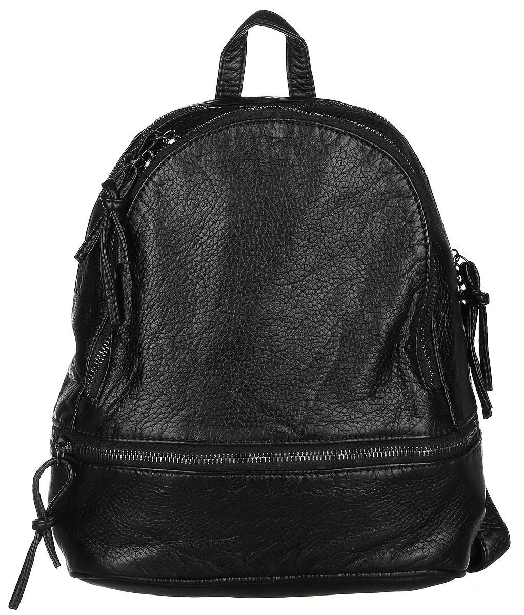 Рюкзак женский Janes Story, цвет: черный. A0031-04101225Стильный женский рюкзак Janes Story выполнен из искусственной кожи. Изделие содержит одно отделение, закрывающееся с помощью застежки-молнии. Внутри расположены: два накладных кармана для мелочей и два кармана на молнии. Спереди рюкзак дополнен двумя карманами на застежки молнии. Рюкзак оснащен удобными лямками регулируемой длины, а также петлей для подвешивания. Такой модный рюкзак займет достойное место в вашем гардеробе.