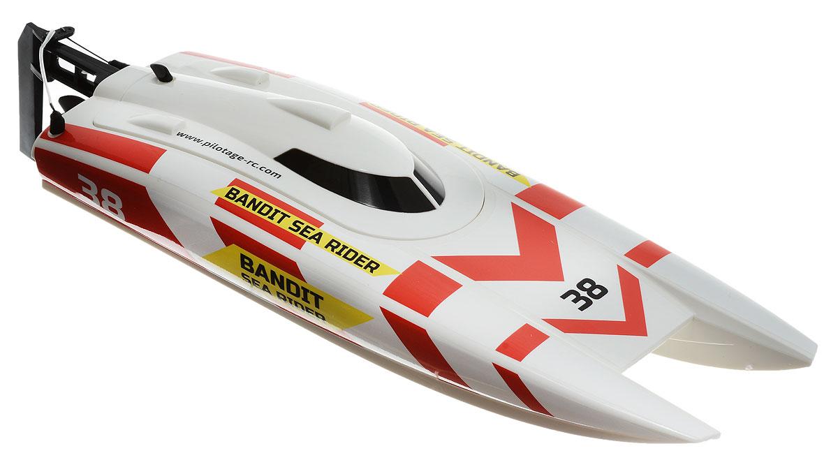 """Полностью готовый к запуску скоростной катер на радиоуправлении Pilotage """"Bandit Sea Rider RTR"""" с коллекторным двигателем с водяным охлаждением и современной двухканальной аппаратурой порадует каждого. Яркий катер мчится по воде подобно ракете, едва касаясь воды. Мощность соответствует внешнему виду! Максимальная скорость - до 40 км/ч! Модель поставляется полностью готовой к запуску, оснащена влагозащищенной электроникой, Li-Ion аккумулятором и зарядным устройством для него. Как только зарядится аккумулятор, вы можете отправляться на водоем. Вы получите массу положительных впечатлений, ведь от резкого нажатия курка передатчика катер буквально """"выстреливает"""" с места, оставляя за кормой шлейф изумрудных брызг! Зарядка катера осуществляется при помощи зарядного устройства (входит в комплект). Для работы пульта управления (передатчика) необходима батарейка типа """"Крона"""" (товар комплектуется демонстрационной)."""