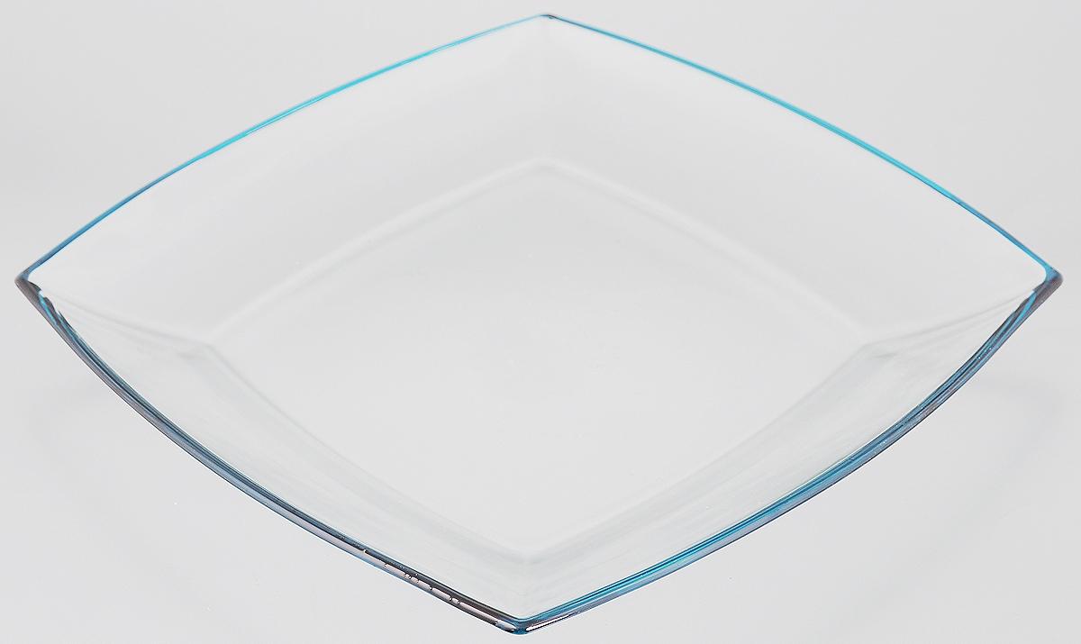 Тарелка Pasabahce Tokio, цвет: прозрачный, голубой, 26,5 х 26,5 см115510Тарелка Pasabahce Tokio выполнена из качественного стекла и украшена цветной окантовкой. Известно каждому, что еда способна утолить голод, а вкусная еда - еще и приносить удовольствие. Но только став обладателем такой тарелки, можно понять, что еда - это еще и возможность создать себе прекрасное настроение. Размеры тарелки позволяют легко вместить даже самую большую порцию.Подходит для хранения в холодильнике. Размер тарелки: 26,5 х 26,5 см.