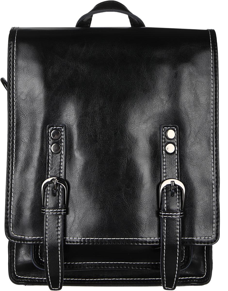 Рюкзак женский Janes Story, цвет: черный. HE8167-0410130-11Стильный женский рюкзак Janes Story выполнен из натуральной кожи и оформлен металлической фурнитурой. Изделие содержит одно отделение, закрывающееся с помощью металлической застежки-молнии и клапана с магнитным замком. Внутри расположены: два накладных кармана для мелочей и два кармана на молнии. Сзади модель дополнена прорезным карманом на молнии, спереди под клапаном накладным открытым карманом. Рюкзак оснащен удобными лямками регулируемой длины, а также петлей для подвешивания. Оригинальный аксессуар позволит вам завершить образ и быть неотразимой.