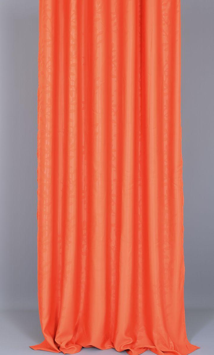 Штора Garden, на ленте, цвет: терракотовый, высота 270 см.106-026Garden – это универсальная и интересная серия домашних штор для яркого и стильного оформления окон и создания особенной уютной атмосферы. Эта штора великолепно смотрится как одна, так и в паре, в комбинации с нежной тюлевой занавеской, собранная на подхваты и свободно ниспадающая естественными складками. Такая штора, изготовленная полностью из прочного и очень практичного полиэстерового полотна, долговечна и не боится стирок, не сминается, не теряет своего блеска и яркости красок.