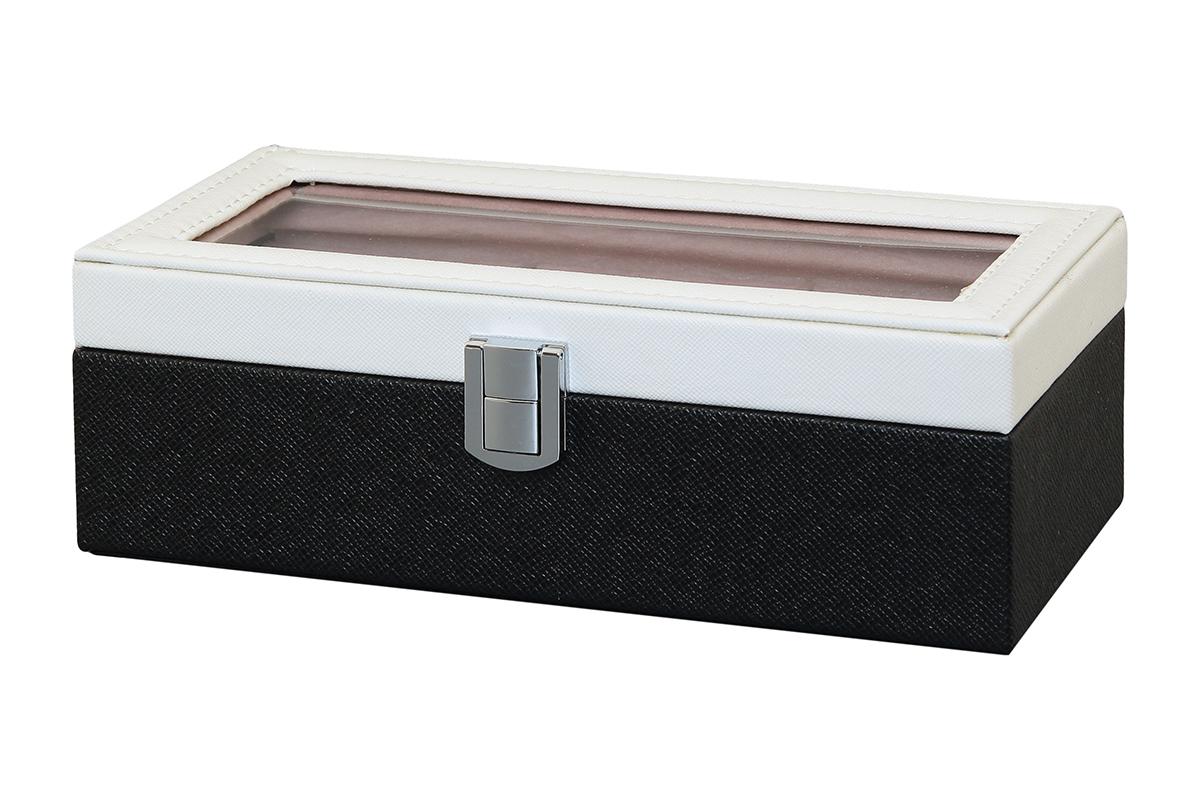Шкатулка для хранения часов El Casa, цвет: черный, белый, 23 х 10 х 8 смRG-D31SШкатулка El Casa, выполненная из МДФ, предназначена для хранения часов. Внутри шкатулки 3 секции с подушечками. Снаружи шкатулка обтянута искусственной кожей с декоративным тиснением. Шкатулка закрывается на замок-защелку. Крышка изделия оформлена прозрачной вставкой. Классический элегантный дизайн делает такую шкатулкуэффектным подарком как мужчине, так и женщине. Если вы привыкли бережно и аккуратно обращаться с каждой из своих вещей, то наверняка согласитесь, чтоприкроватная тумбочка или стеклянная полочка в ванной - не идеальное место для хранения наручных часов: ихможно нечаянно уронить, а поутру в спешке и вовсе забыть, где они вчера были сняты. Простым и эффектнымрешением в этом случае станет элегантная шкатулка для часов. Изнутри она покрыта мягким и приятным на ощупьматериалом. Он убережет помещенные в шкатулку часы от пыли, царапин и прочих механических повреждений.