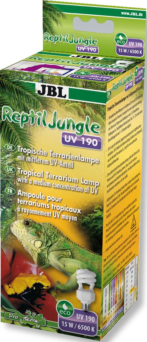 Лампа для тропического террариума JBL ReptilJungle UV 190, Е27, 15 Вт, 6500 К0120710Энергосберегающая лампа JBL ReptilJungle UV 190 со средним уровнем ультрафиолета в областях UV-A и UV-B предназначена для тропических террариумов. Отлично подходит для правильного содержания животных из тропиков и субтропиков, например, хамелеонов, змей. Большая площадь УФ излучения: UV-A стимулирует активность, аппетит и репродуктивное поведение; UV-B - оптимальное усвоение кальция. Рекомендуемое расстояние до животного: от 5 до 20 см при времени экспозиции от 8 до 10 часов в день. Обитатели террариума - холоднокровные, они сильно зависят от света, а, в частности, от качества и интенсивности света. Активность, прием пищи, пищеварение и фазы отдыха зависят от смены дня и ночи и интенсивности света. От источника зависят различия в интенсивности и качестве света.
