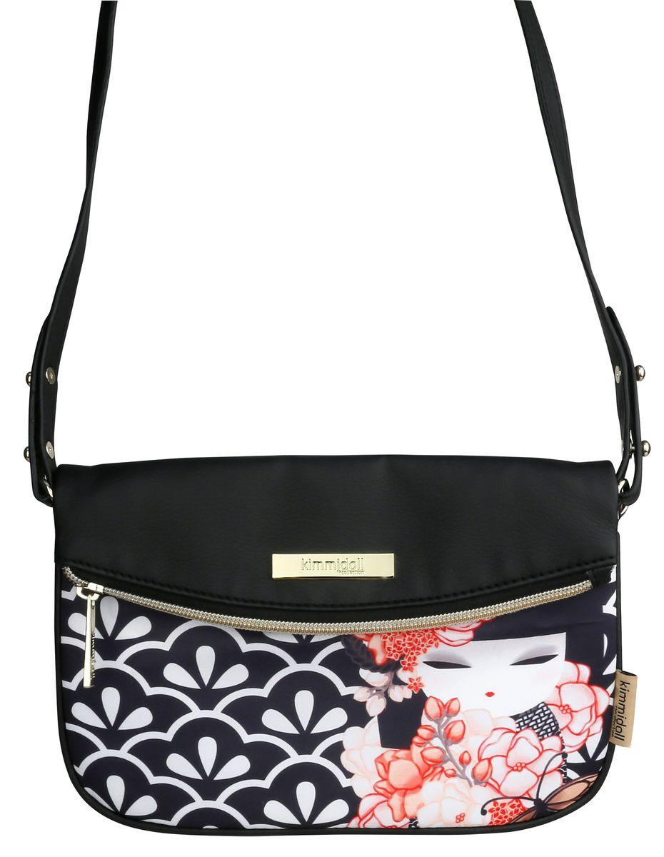 Сумка женская Kimmidoll, цвет: черный, темно-синий. KF1107L39845800Женская сумка Kimmidol выполнена из высококачественной искусственной кожи и оформлена изображением японской куколки-талисмана кокеши. Стильная сумка пригодится тебе в учебе, в путешествии, и в повседневном использовании.Просторное основное отделение закрывается на молнию и магнитную кнопку. Сумка имеет длинный плечевой ремень.Сумка - это стильный аксессуар, который подчеркнет вашу изысканность и индивидуальность и сделает ваш образ завершенным. С такой сумочкой вы не останетесь незамеченной.