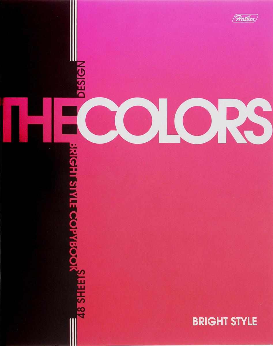 Hatber Тетрадь The Colors 48 листов в клетку цвет розовый730396Тетрадь Hatber из серии The Colors отлично подойдет для занятий школьнику, студенту или для различных записей.Обложка, выполненная из плотного металлизированного картона, украшена изображением английских букв.Внутренний блок тетради, соединенный металлическими скрепками, состоит из 48 листов белой бумаги в голубую клетку с полями.