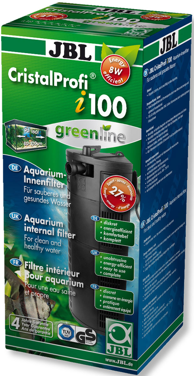 Фильтр для аквариума внутренний JBL CristalProfi i100 greenline, угловой, 90-160 л, 300-720 л/чDecor 264Фильтр для аквариума внутренний JBL CristalProfi i100 greenline предназначен для механической и биологической фильтрации аквариумов 90-160 л (80-100 см). Остатки растений, корма и продукты обмена веществ ухудшают качество воды в аквариуме. Хорошее качество воды необходимо для укрепления здоровья рыб и растений в аквариуме. Этого можно достичь с помощью аквариумного фильтра. Фильтр забирает воду из аквариума и устраняет грязь и отходы из воды. Фильтр также предоставляет идеальную среду обитания для бактерий, разлагающих загрязнения. Фильтр имеет модульную конструкцию, его можно расширить, сопло поворачивается на 90°, присоска с механизмом для открепления, угловая конструкция. Фильтр полностью погружной, экономичный. Не требует технического обслуживания: постоянная циркуляция. Фильтр полностью оборудован и готов к подключению, снабжен фильтрующим материалом. Подключите рассекатель или флейту, поместите фильтр в аквариум, подключите питание. Подходит для любых фильтрующих материалов.