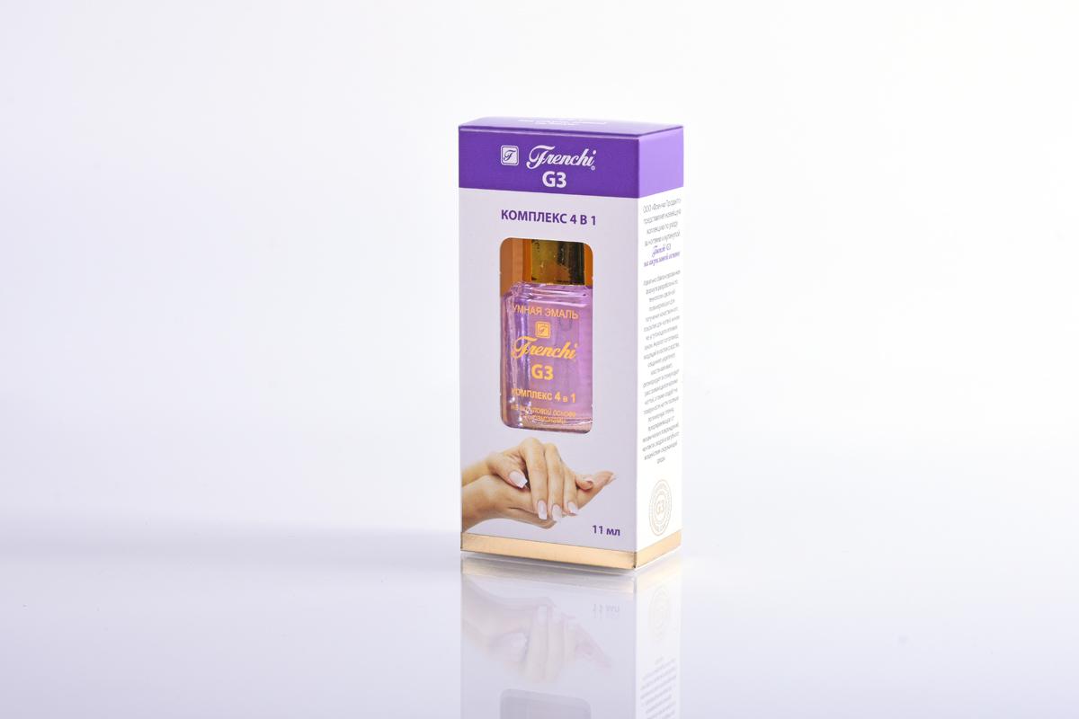 Frenchi G3 Комплекс 4 в 1 на акриловой основе, 11 мл28032022Комплекс 4 в одном Frenchi G3 на акриловой основе с витаминами - универсальное защитное средство для быстрого создания безупречных ногтей. Улучшенная формула, тонко сбалансированный состав компонентов закладывает мощный фундамент для крепкого, эластичного ногтевого ложе, восстанавливает и питает ногтевую пластину, придает глянцевый блеск, усиливает «иммунитет» ногтя к вредному воздействию окружающей среды. Препарат формирует надёжный щит на поверхности ногтя, максимально защищающий их от внешних повреждений и препятствующий их расслоению. Присутствие в составе витамина Е, экстракта чайного дерева, а также наличие мельчайшей бриллиантовой крошки способствует росту и регенерации клеток ногтевого полотна, повышает упругость и эластичность ногтевой пластины, обладает антисептическим и противовоспалительным действием, формирует идеально гладкую поверхность и придает ослепительный блеск ногтям.