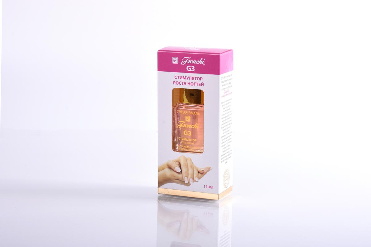 Frenchi G3 Стимулятор роста ногтей на акриловой основе, 11 мл28032022Стимулятор роста ногтей Frenchi G3 на акриловой основе с витаминами - прекрасный ускоритель медленного роста ногтей. Мечта каждой женщины – длинные, изящные, красивые ногти. Быстрый рост красивых ногтей обуславливается не только природными данными, но и уходом за ними. Препарат специально разработан для ускорения медленного роста ногтей с плотной, жёсткой и обезвоженной структурой роговой ткани ногтевого полотна. Тонко сбалансированная, научно разработанная формула позволяет препарату быстро и глубоко проникать в ногтевую ткань, увлажняя и стимулируя ускоренный рост крепких, здоровых ногтей. Средство оптимизирует баланс активных веществ, даёт дополнительное питание роговым тканям. Минеральные добавки, комплекс растительных экстрактов женьшеня, алоэ и бамбука укрепляют ногтевую пластину и способствуют более активному и правильному её росту, глубоко проникают внутрь в зону роста ногтевой пластины и стимулируют образование новых клеток. Через 14 дней после применения препарата Ваши ногти снова станут радовать Вас здоровым и натуральным видом.