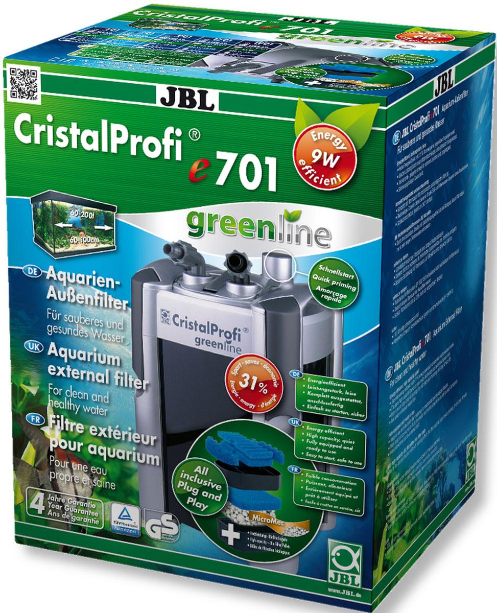Фильтр внешний JBL CristalProfi e701 greenline, для аквариума 60-200 л, 700 л/чJBL6021000Внешний аквариумный фильтр JBL CristalProfi e701 greenline - это экономичный и в то же время мощный фильтр для чистой и здоровой воды в аквариуме. Большой объем и различные слои фильтрации обеспечивают высокую биологическую производительность фильтра. Шарики биофильтра имеют различный диаметр, что способствует эффекту самоочищения. Фильтр предназначен для аквариумов объемом 60-200 л (длина 60-100 см). Потребляемая мощность 9 Вт обеспечивает экономию энергии. Запатентованный блок присоединения шлангов с предохранительным клапаном предотвращает утечку воды при отключении фильтра. Фильтр полностью оборудован и готов к подключению: встроенная система быстрого запуска означает запуск фильтра без всасывания воды. Простая сборка. Фильтрующий материал также в комплекте. Очень тихая работа при производительности насоса 700 л/ч. Запатентованный префильтр: высокая производительность биофильтра объемом 6,1 л, запорный кран, соединение шланга с возможностью поворота на 360°, легко заменяемые фильтрующие материалы. Остатки растений, корма и продукты обмена веществ ухудшают качество воды в аквариуме. Хорошее качество воды необходимо для укрепления здоровья рыб и растений. Этого можно достичь с помощью аквариумного фильтра. Фильтр забирает воду из аквариума и устраняет грязь и отходы из воды. Фильтры также предоставляют бактериям, разлагающим загрязняющие вещества, идеальную среду обитания. В комплекте: внешний аквариумный фильтр, шланги, трубки 12/16, защитная решетка, уголок, присоски, фильтрующие материалы (шарики и губка биологический фильтрации).