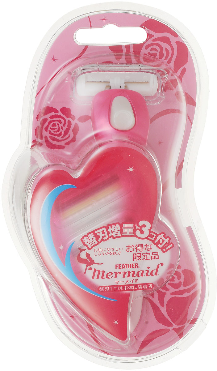 Feather Бритвенный станок для женщин с 3 запасными лезвиями Mermaid розовая розаEP8020F0Лезвия изобретены и сконструированы специально для женщин.Наличие 3х лезвий обеспечивает щадящее и гладкое бритье.Оснащен специальным роликом, излучающим отрицательные ионы, приятно подтягивает кожу, обеспечивая более чистое бритье.Движение головки вверх-вниз и справа-налево дает возможность полностью повторять контуры тела и позволяет брить самые неудобные места.