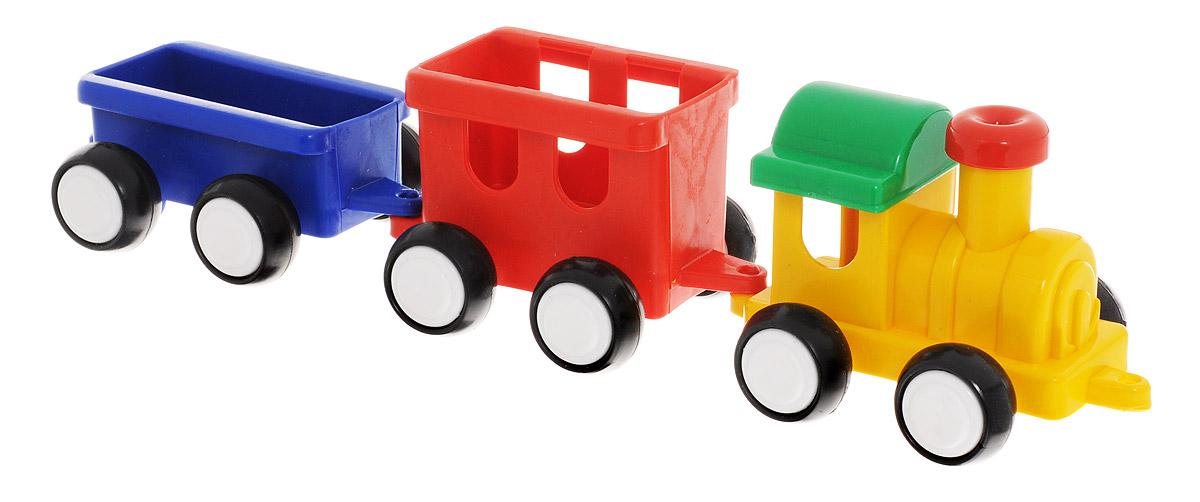 """Паровозик Форма """"Детский сад"""" - это яркий и абсолютно безопасный паровозик, выполненный из прочных материалов. Паровозик обязательно порадует малыша и станет замечательным подарком для юного железнодорожника. Паровоз и два вагона крепко сцеплены друг с другом, имеют широкие нескользящие колеса, благодаря которым не будут буксовать даже на гладкой поверхности. В паровоз и вагоны можно посадить маленькие фигурки. Пластмассовый паровозик может стать незаменимым другом в песочнице."""