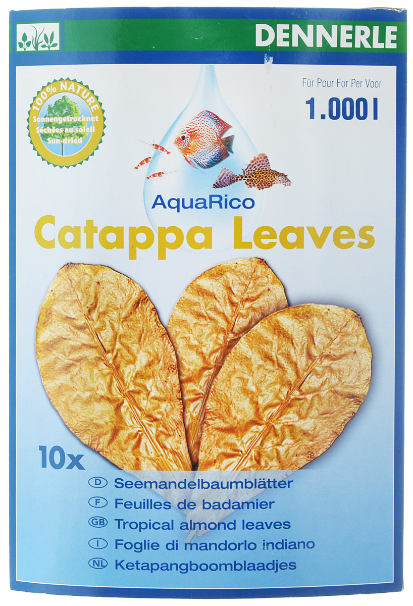 Листья миндального дерева Dennerle Catappa Leaves, 8 шт0120710Листья индийского миндаля Dennerle Catappa Leaves - это высушенные спелые листья тропического индийского миндаля, которые содержат разнообразные активные натуральные вещества. В листьях содержится большое количество естественных полезных веществ, которые оказывают положительное воздействие на воду и на рыб. Сомы и креветки ценят листья как приятное лакомство. Добавляют в воду питательные вещества, к которым привыкли рыбы в естественной среде обитания. Поддерживают хорошее самочувствие, жизненную активность. Укрепляют и защищают слизистую оболочку, усиливают защитные силы организма. - Предотвращают грибковые заболевания икры и рыб. - Служат естественным украшением. - Способствуют хорошему самочувствию, обилию жизненных сил и нересту. - Природный очиститель воды для тропических аквариумов. - Здоровая кормовая добавка для лорикариевых сомов и креветок. Товар сертифицирован.Уважаемые клиенты! Обращаем ваше внимание на возможные изменения в дизайне упаковки. Качественные характеристики товара остаются неизменными. Поставка осуществляется в зависимости от наличия на складе.