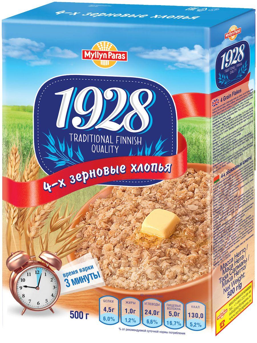 Myllyn Paras хлопья 4-х зерновые, 500 г01207104-х зерновые хлопья Мюллюн Парас изготовлены из зерен, которые расплющены в тонкие хлопья. Эти хлопья можно использовать для каш, выпечки, мюсли и смешивать с простоквашей, йогуртом и.т.д.