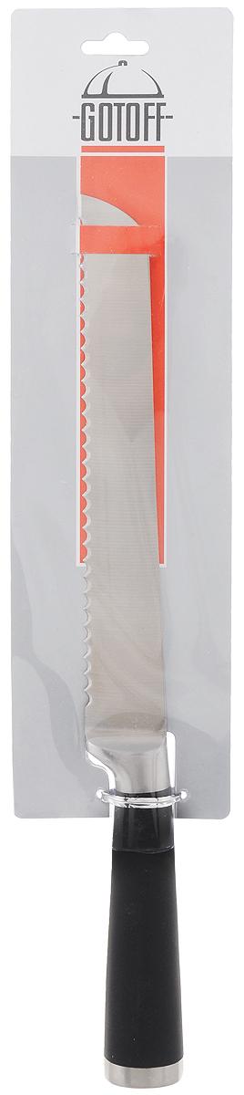 Нож для хлеба Gotoff, длина лезвия 19,5 смKF02-3Нож Gotoff, выполненный из высококачественной стали, идеально подходит для нарезания хлеба с хрустящей корочкой. Удобная ручка с пластиковой вставкой обеспечивает надежный и удобный хват.Нож Gotoff идеально сбалансирован, чтобы обеспечить точную и легкую нарезку продуктов. Благодаря тщательно подобранным материалам, нож легко использовать, мыть и хранить. Общая длина ножа: 32,5 см.