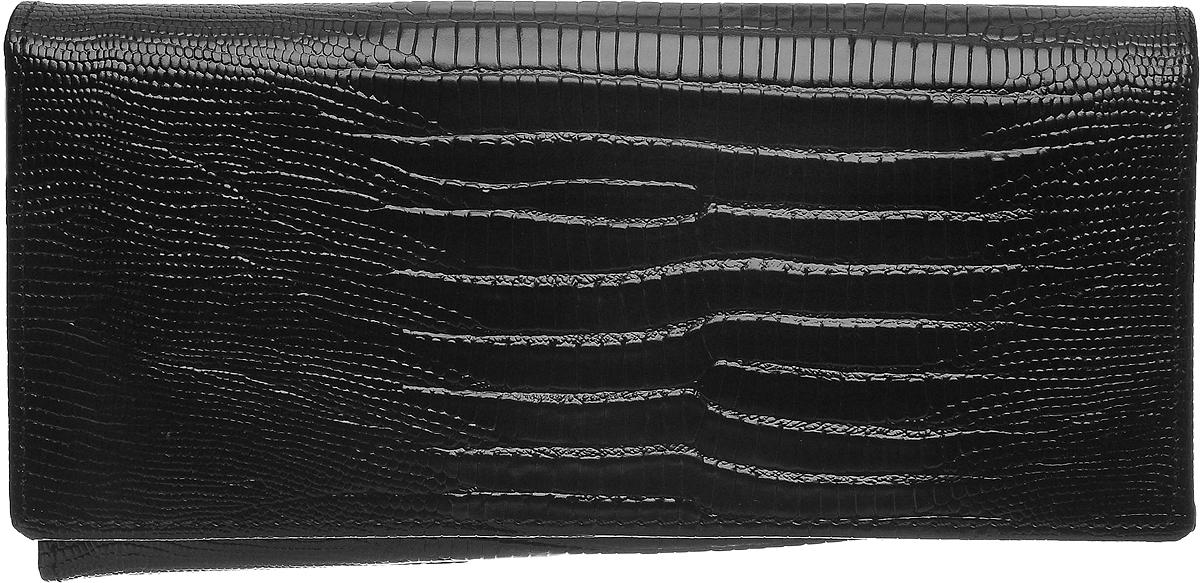 Кошелек женский Janes Story, цвет: черный. K-L-197-04ERJAA03224-WBT0Кошелек Janes Story выполнен из натуральной кожи с тиснением под рептилию и закрывается клапаном на кнопку. Внутри расположено два вместительных отделения для купюр, одно отделение для мелочи на молнии, два открытых кармана для мелких бумаг и четыре кармана для визитных и дисконтных карт. Также внутри находятся шесть вертикальных карманов для карт, один из которых с прозрачным окошком.Изделие упаковано в фирменную коробку.