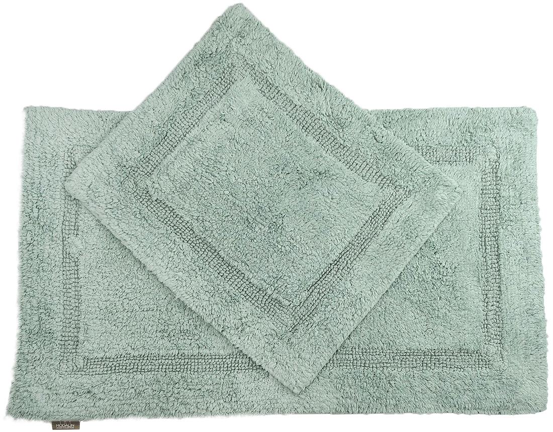 Набор ковриков для ванной Modalin Karla, цвет: зеленый, 2 штPR-2WНабор Modalin Karla, выполненный из высококачественного хлопка, состоит из двух ковриков для ванной комнаты. Изделия добавят тепло и уют, а также внесут неповторимый колорит в интерьер ванной комнаты. Высокая износостойкость ковриков и стойкость цвета позволит вам наслаждаться покупкой долгие годы. Размер большего коврика: 60 х 100 см.Размер малого коврика: 60 х 50 см.