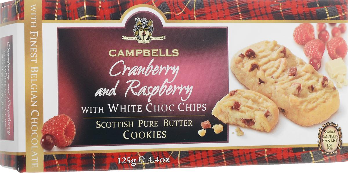 Campbells Cranberry and Raspberry печенье с кусочками белого шоколада, малиной и клюквой, 125 г0120710Campbells Cranberry and Raspberry - песочное печенье с кусочками белого шоколада, малиной и клюквой от известнейшего бренда из Шотландии. Рецепт приготовления этого вкуснейшего печенья состоит исключительно из высококачественных ингредиентов и не меняется вот уже много лет.