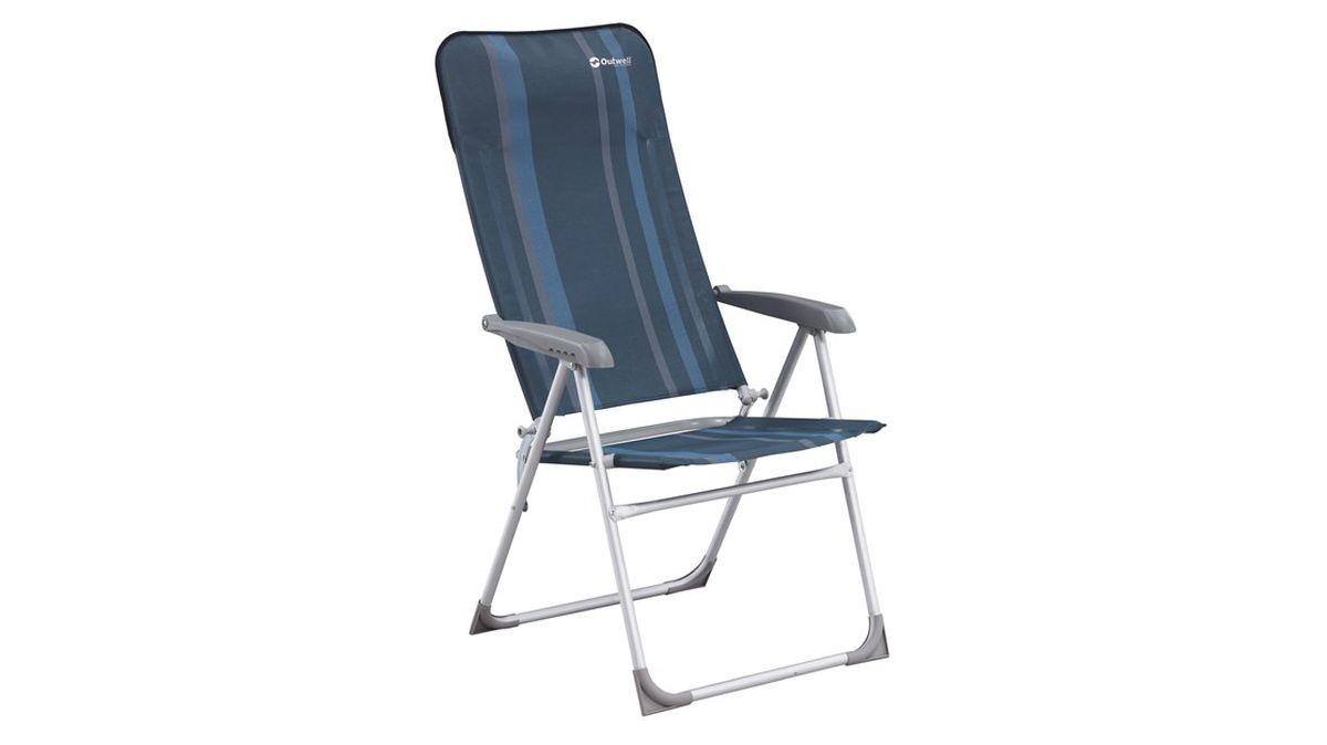 Кресло складное Outwell Kenora, цвет: синий, серый, 58 х 65 х 114 см410026Кресло складное Outwell Kenora имеет изящный дизайн со стильным рисунком ткани в современных цветах. Каркас из прочного алюминия и высококачественный износостойкий полиэстер являются основой надежной эксплуатации изделия. Кресло отличается высокой спинкой с поддержкой головы и съемной подушкой. Имеется 5 положений наклона. Кресло оснащено пластиковыми подлокотниками. На ножках имеются пластиковые накладки, не царапающие поверхность.