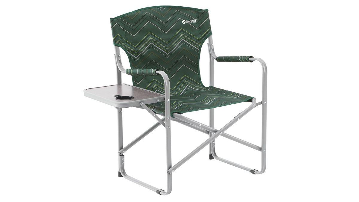 Кресло складное Outwell Bredon Hills With Side Table, цвет: зеленый, 87 х 50 х 85 см470167Кресло складное Outwell Bredon Hills With Side Table имеет изящный дизайн со стильным рисунком ткани в современных цветах. Каркас изделия выполнен из прочного металла. Кресло оснащено подлокотниками, обтянутыми текстилем. На одном из подлокотников имеется небольшой столик с подстаканником.В сложенном виде кресло занимает мало места.