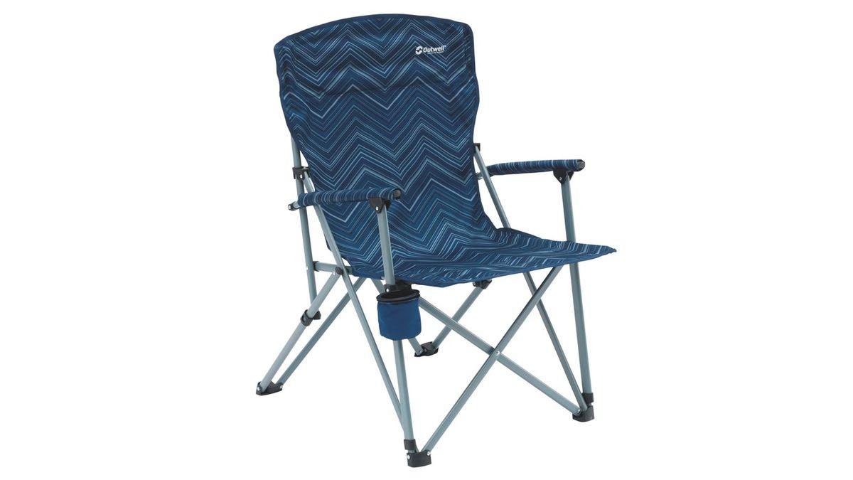 Кресло складное Outwell Spring Hills, цвет: синий, 65 х 70 х 97 см470187Кресло складное Outwell Spring Hills имеет изящный дизайн со стильным рисунком ткани в современных цветах. Каркас изделия выполнен из прочного металла с порошковым покрытием. Подлокотники оснащены мягкими накладками. Снизу имеется небольшой подстаканник.В сложенном виде кресло занимает мало места.