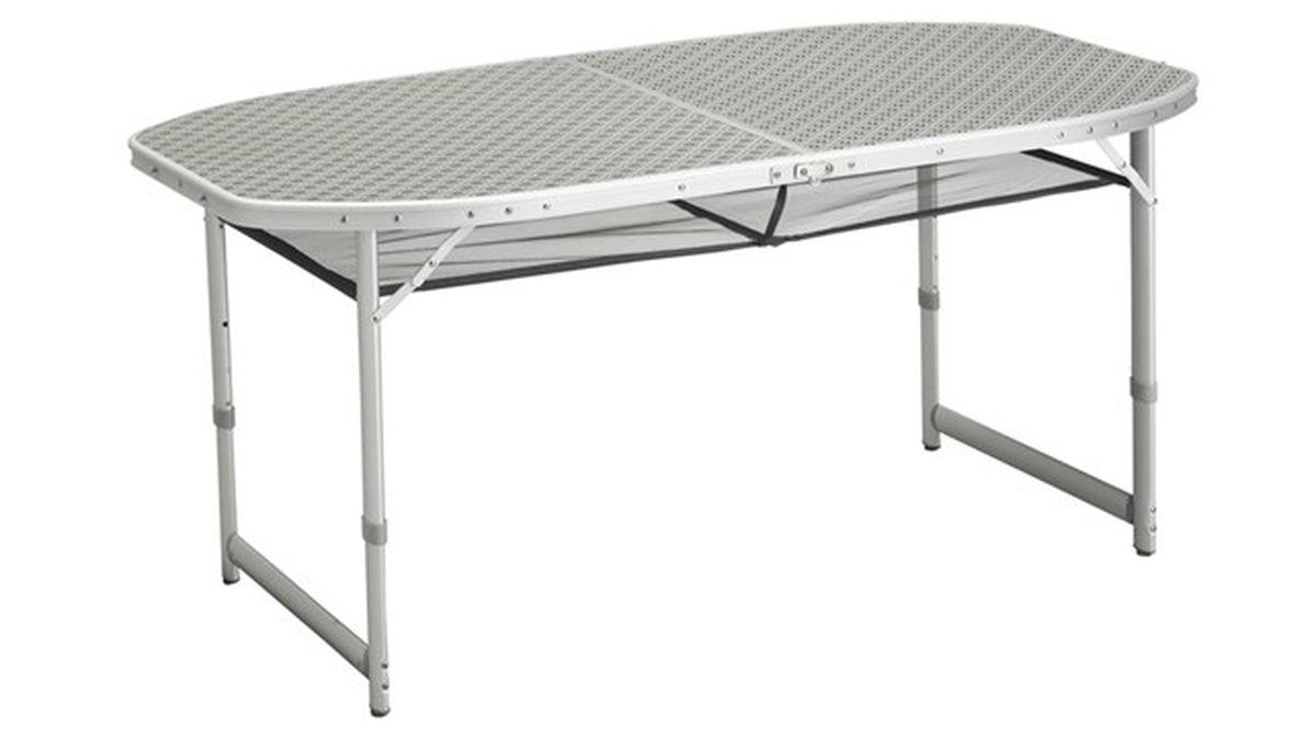 Стол складной Outwell Hamilton, 150 х 80 х 70 см31100024Складной стол Outwell Hamilton пригодится на любом пикнике или кемпинге. Он компактный, легкий и устойчивый. Компактные габариты изделие обеспечиваются металлическими ножками, складываются внутрь столешницы, а сама она складывается пополам. Высота стола регулируется. Каркас стола выполнен из прочного и легкого алюминия.