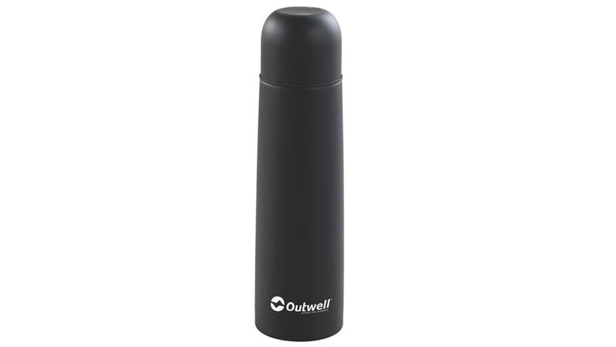 Термос Outwell Agita Stainless Steel Flask, цвет: черный, 1 л530771Термос Outwell Agita Stainless Steel Flask обязательно пригодится в турпоходе, на рыбалке или в поездках. Его объем составляет 1 литр, а это значит, что чая, кофе или бульона хватит на несколько человек. Корпус термоса выполнен из нержавеющей стали, которая не вступает в контакт с жидкостью и может использоваться в пищевой промышленности.Термос не боится ударов, что очень важно в походных условиях. Его просто открыть и закрыть. После использования он легко моется. Крышка термоса может использоваться как чашка.