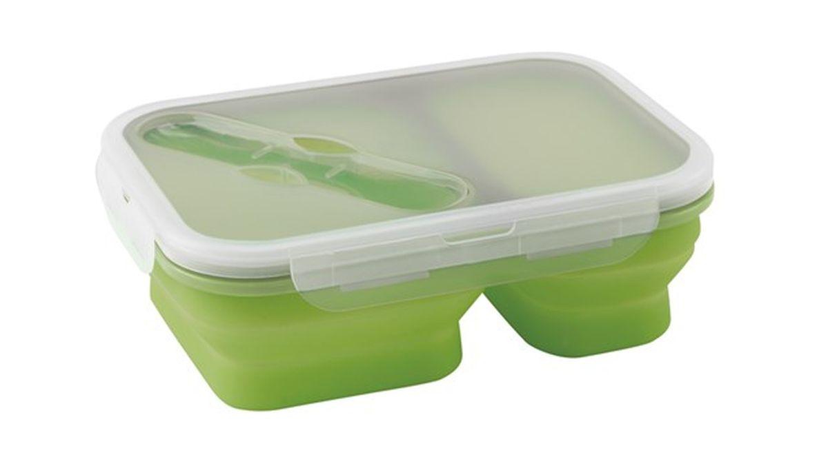 Контейнер Outwell Collaps Lunch Box, цвет: зеленый732382Контейнер для еды Outwell Collaps Lunch Box в сложенном виде практически плоский. Можно хранить холодную и горячую еду. Разделен на два отсека. В комплекте вилка и ложка. Противоударный, герметичный, легко складывается/раскладывается. Можно использовать в микроволновой печи и мыть в посудомоечной машине.