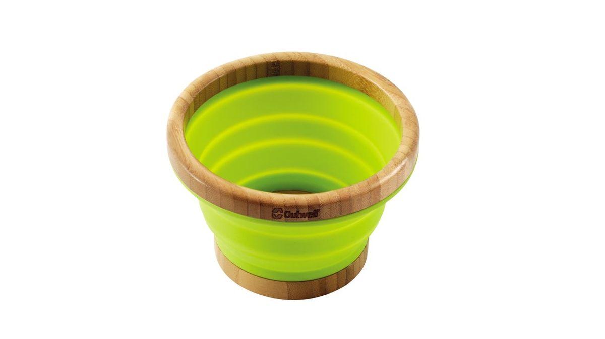 Миска складная Outwell Collaps Bamboo Bowl M, цвет: зеленый, коричневый650355Складная миска Outwell Collaps Bamboo Bowl M выполнена из высококачественного силикона и бамбука. В сложенном виде она практически плоская! Из сложенного состояния она раскрывается, превращаясь во вместительную миску. Силикон и бамбук не вступают в реакцию с пищей и не выделяют вредных веществ. Миска легкая и прочная, ее невозможно разбить.Размер в сложенном виде: 15 х 15 х 3 см.