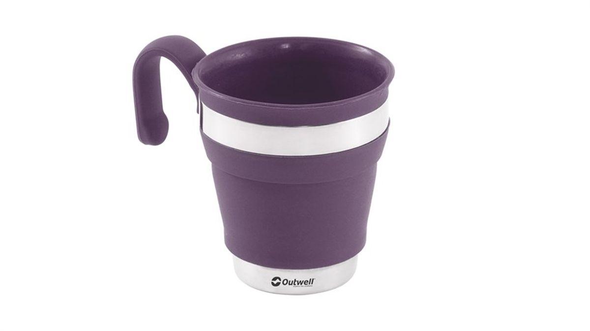 Кружка Outwell Collaps Mug Plum, цвет: фиолетовый, белый, 300 мл650483Складная кружка Outwell Collaps Mug Plum выполнена из высококачественного силикона. Может вместить до 0,3 л жидкости, при том, что в сложенном виде она практически плоская! Из сложенного состояния она раскрывается, превращаясь во вместительную кружку. Кружка оснащена ручкой для удобной эксплуатации.