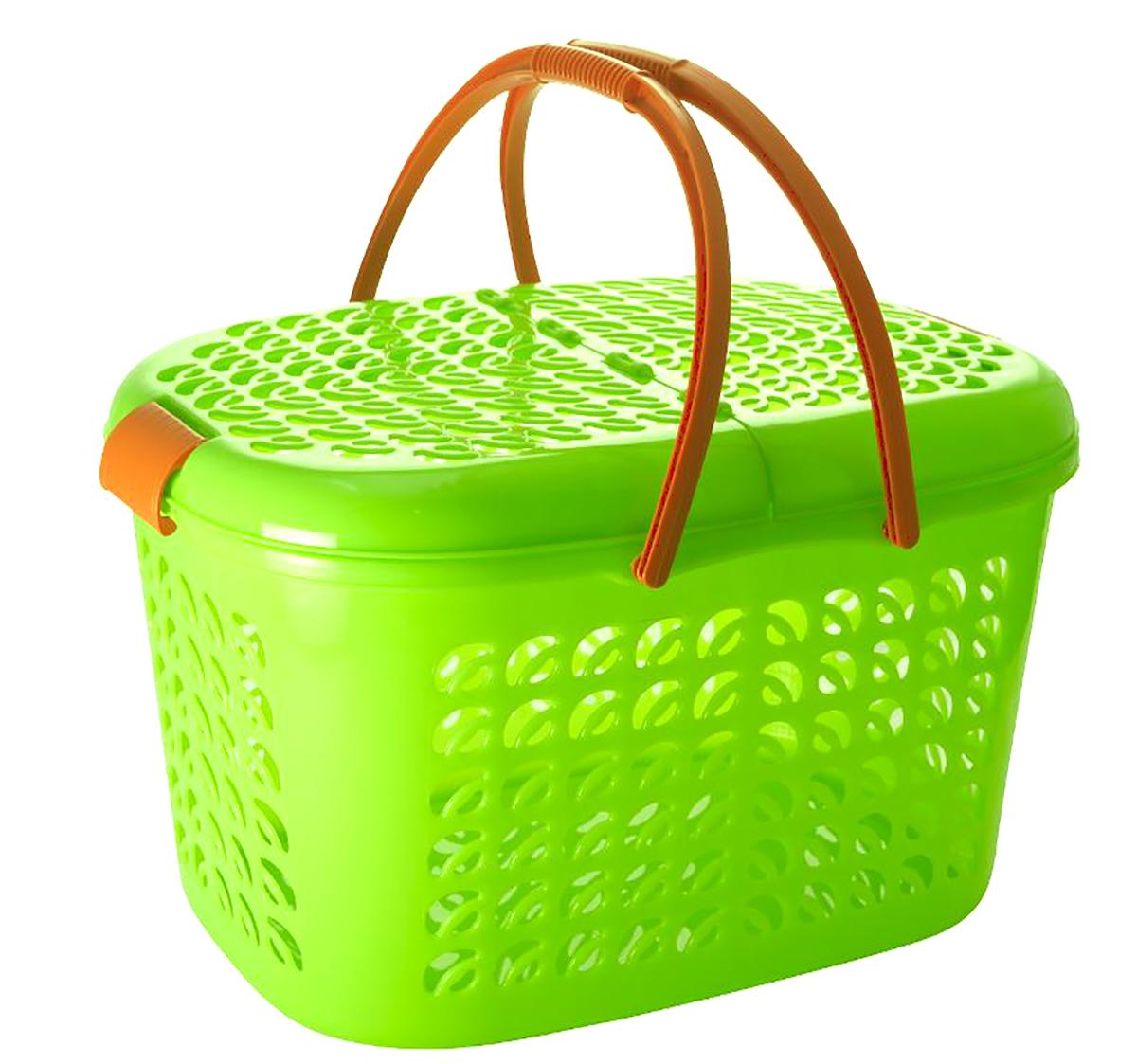 Корзина-переноска Plastic Centre, цвет: зеленый, коричневый, 51 х 34,5 х 27,5 смRG-D31SКорзина-переноска Plastic Centre выполнена из прочного пластика. Корзина прекрасно подойдет для хранения продуктов, детских игрушек или переноски небольших домашних животных. На стенках и крышке расположены фигурные отверстия, дно сплошное. Оснащена двумя пластиковыми ручками, крышкой, открывающейся с двух сторон, и крепкими защелками.Размер корзины (с учетом крышки, без учета ручек): 51 х 34,5 х 27,5 см.