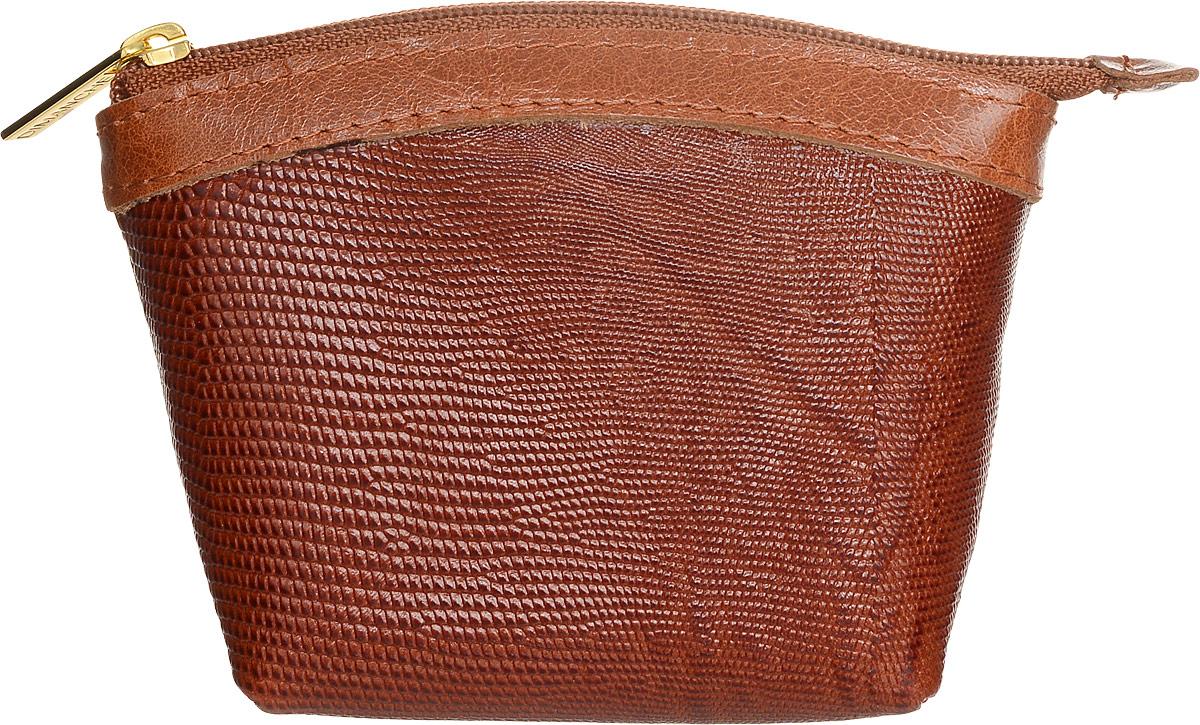 Кошелек-монетница женский Dimanche, цвет: рыже-коричневый. 258/09JC50-63278Кошелек-монетница Dimanche выполнен из натуральной кожи с тиснением под рептилию и закрывается на застежку-молнию. Внутри расположено одно отделение для денег.Изделие упаковано в фирменную коробку.