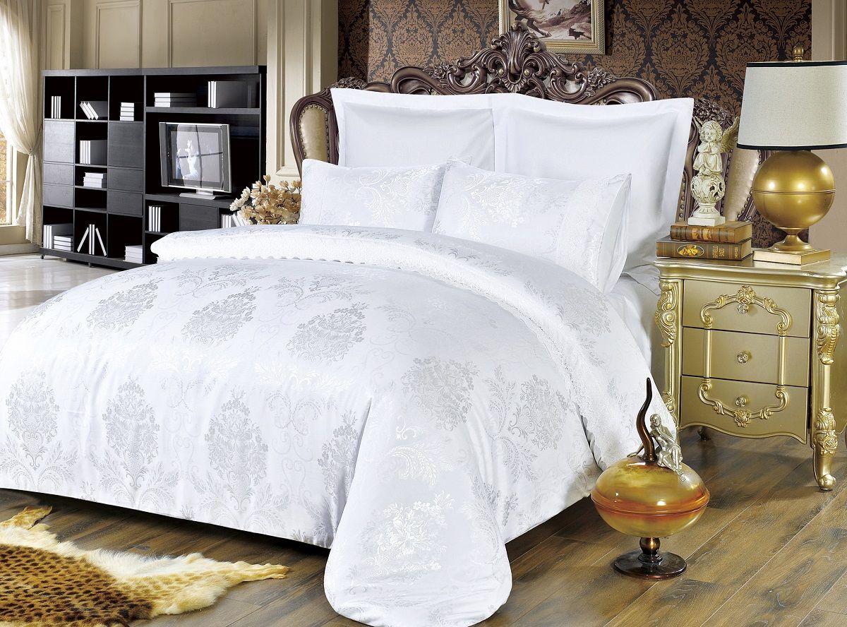 Комплект белья Modalin, 2-спальный, наволочки 50х70, 70x70. 5064RC-100BWCКомплект постельного белья Modalin, выполненный из сатина (100% хлопка), создан для комфорта и роскоши. Комплект состоит из пододеяльника, простыни и 4 наволочек. Постельное белье оформлено оригинальным орнаментом и кружевом. Пододеяльник застегивается на молнию, что позволяет одеялу не выпадать из него.Сатин - хлопчатобумажная ткань полотняного переплетения, одна из самых красивых, прочных и приятных телу тканей, изготовленных из натурального волокна. Благодаря своей шелковистости и блеску сатин называют хлопковым шелком.