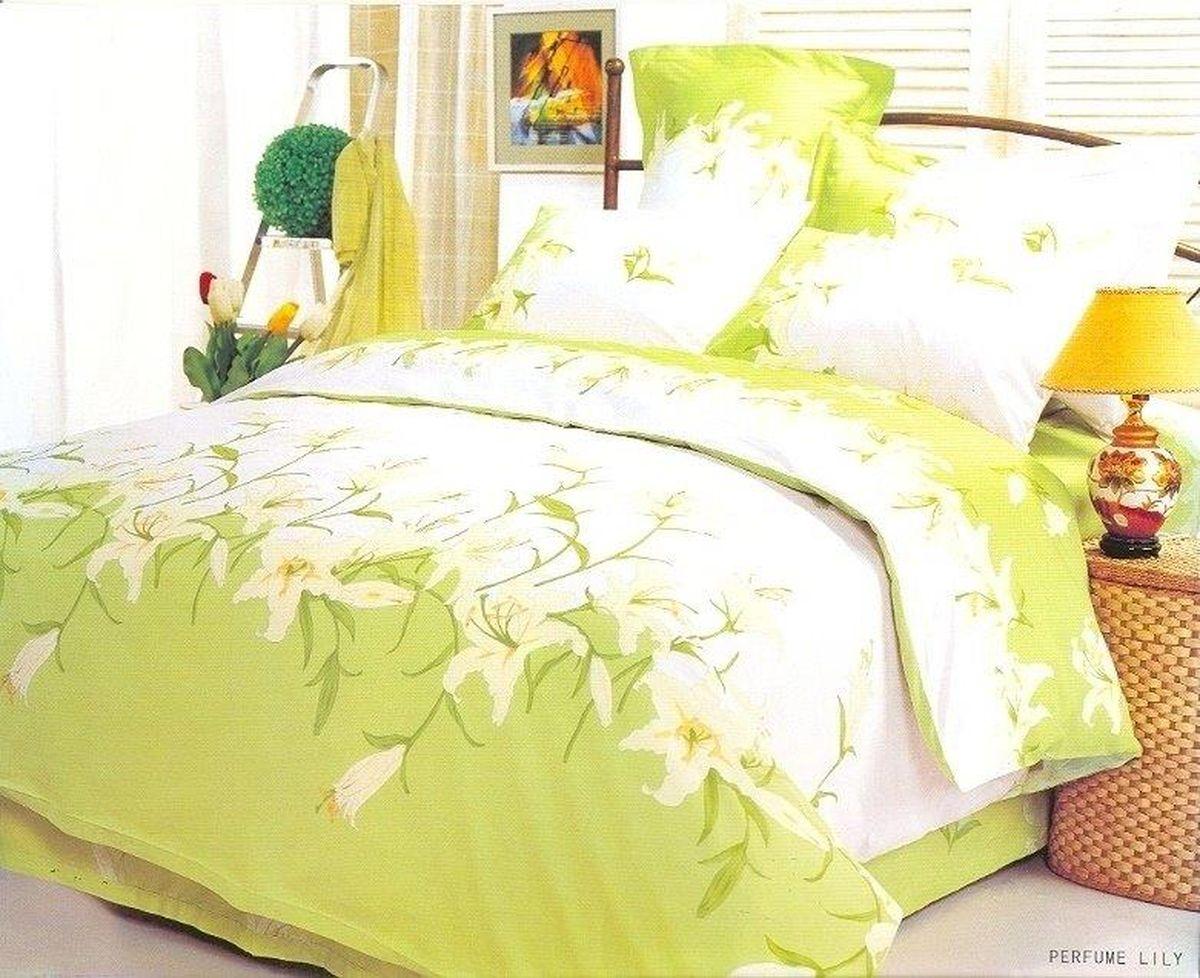 Комплект белья Le Vele Perfume Lily, 2-спальный, наволочки 50х70391602Комплект постельного белья Le Vele Perfume Lily, выполненный из сатина (100% хлопка), создан для комфорта и роскоши. Комплект состоит из пододеяльника, простыни и 4 наволочек. Постельное белье оформлено оригинальным рисунком. Пододеяльник застегивается на кнопки, что позволяет одеялу не выпадать из него.Сатин - хлопчатобумажная ткань полотняного переплетения, одна из самых красивых, прочных и приятных телу тканей, изготовленных из натурального волокна. Благодаря своей шелковистости и блеску сатин называют хлопковым шелком.