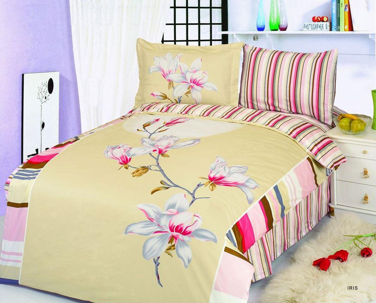 Комплект белья Le Vele Iris, 1,5-спальный, наволочки 50х70391602Комплект постельного белья Le Vele Iris, выполненный из сатина (100% хлопка), создан для комфорта и роскоши. Комплект состоит из пододеяльника, простыни и 2 наволочек. Постельное белье оформлено цветочным рисунком. Пододеяльник застегивается на кнопки, что позволяет одеялу не выпадать из него.Сатин - хлопчатобумажная ткань полотняного переплетения, одна из самых красивых, прочных и приятных телу тканей, изготовленных из натурального волокна. Благодаря своей шелковистости и блеску сатин называют хлопковым шелком.